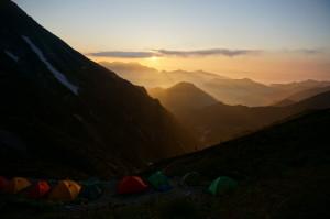 五竜山荘テン場からの夕焼け